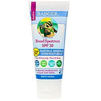Badger Company, Натуральный минеральный солнцезащитный крем, прозрачный цинк, фактор защиты SPF 30, без запаха, 87 мл