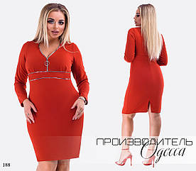Платье короткое вырез длинный рукав креп-дайвинг 42-44,46-48,50-52,54-56