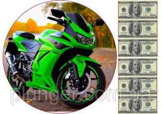 "Вафельна картинка для торта ""Мотоцикл"", кругла (аркуш А4)"