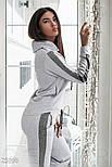 Зручний сірий спортивний костюм з смужками з люрексу, фото 4