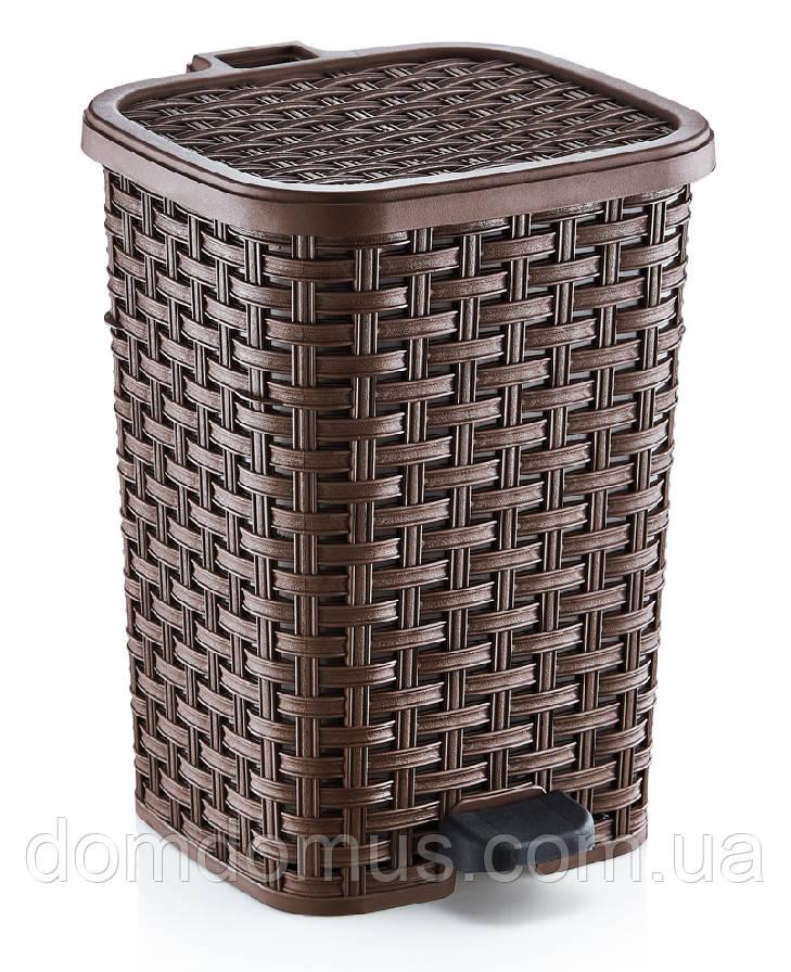 """Ведро для мусора """"Раттан"""" с педалью 26 л Dunya Plastik, Турция коричневое"""
