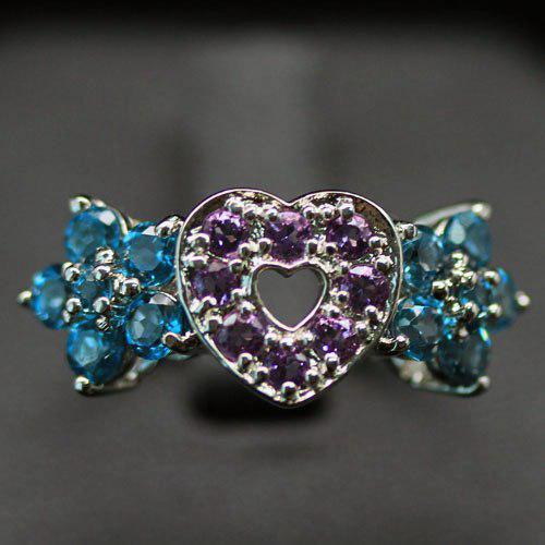 Кольцо с Аметистами и Лондонскими Топазами (London Blue)