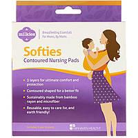 Fairhaven Health, Milkies, Softies, контурные многоразовые прокладки в бюстгальтер для кормящих мам, 3 пары (6 шт.)