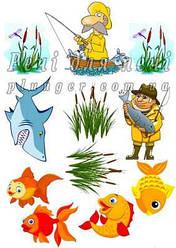"""Вафельна картинка для конд. виробів, топперов, капкейків, пряників """"Рибалка"""", (лист А4)"""