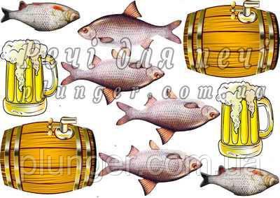 """Вафельна картинка для кондитерських виробів """"Пиво"""", (лист А4)"""