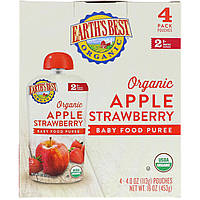 Earth's Best, Organic Apple Strawberry, Baby Food Puree, 6+ Months, 4 Pouches, 4.0 oz (113 g) Each