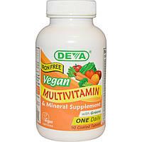 Deva, Мультивитаминная и минеральная добавка, без железа, веганская, 90 таблеток в оболочке, официальный сайт