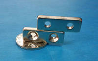 Неодимовый магнит. Прямоугольный 30х10x5 мм, с двумя отверстиями 4 мм