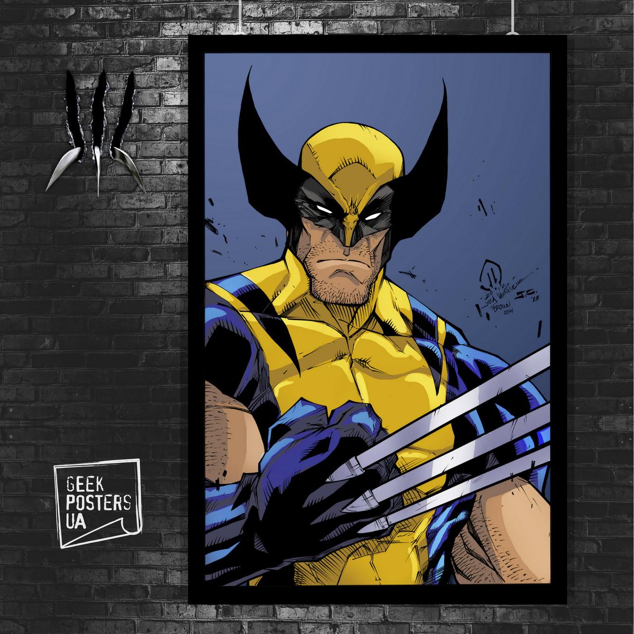 Постер Росомаха, Логан, комикс. Размер 60x42см (A2). Глянцевая бумага