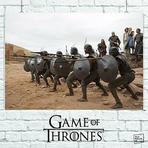 Постер Воины охраняют Дайнерис, Игра Престолов. Размер 60x42см (A2). Глянцевая бумага