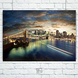Постер Бруклинский мост вечером, Нью-Йорк. Размер 60x42см (A2). Глянцевая бумага