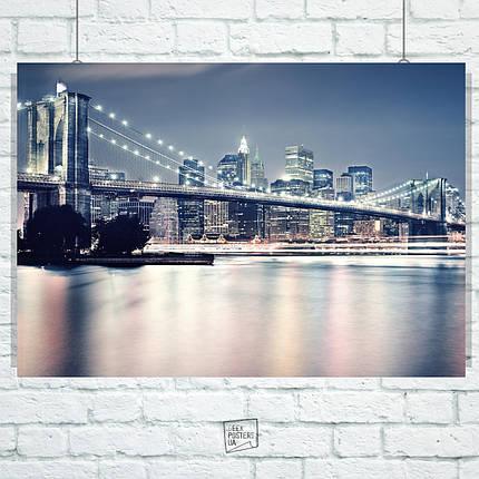 Постер Бруклинский мост ночью, Нью-Йорк. Размер 60x42см (A2). Глянцевая бумага, фото 2