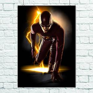 Постер Flash, Флэш (низкий старт). Размер 60x42см (A2). Глянцевая бумага