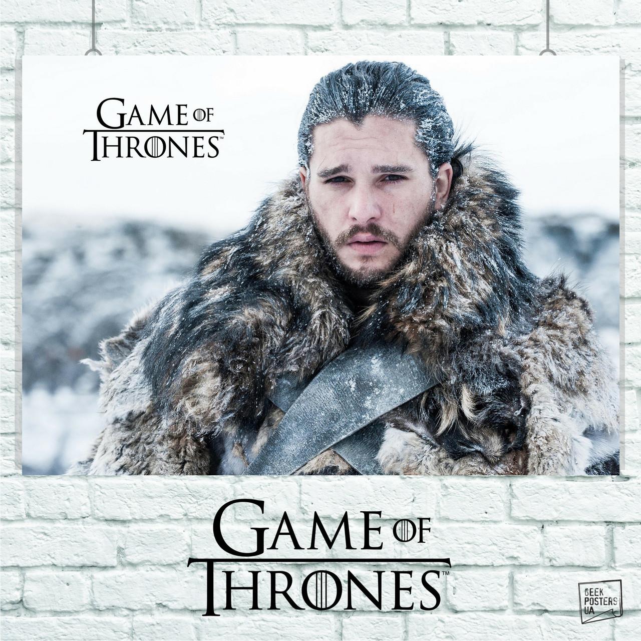 Постер Джон Сноу, Игра Престолов, Game Of Thrones, GOT. Размер 60x42см (A2). Глянцевая бумага