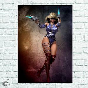 Постер Девушка с пистолетами (графика) (60x90см)