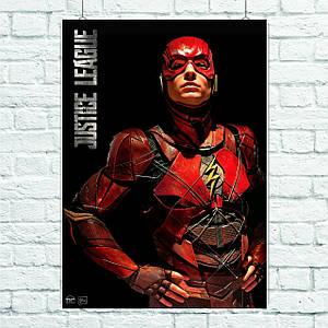 Постер Flash, Флэш, Лига Справедливости, Justice League. Размер 60x43см (A2). Глянцевая бумага