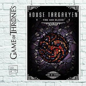 "Плакат ""Игра Престолов, GoT, Game of Thrones. Дом Таргариенов, мозаика"". Размер 60x42см (A2). Глянцевая бумага"