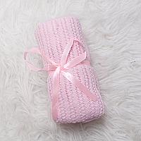 """Детский вязаный плед """"Ажур"""" 70×90 розовый покрывало, легкое одеяло, летний плед, для крестин"""