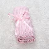 """Дитячий в'язаний плед """"Ажур"""" 70×90 рожевий покривало, легка ковдра, річний плед, для хрестин, фото 2"""