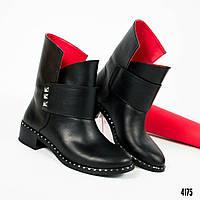 1b6346335 Ботинки женские с шипами натуральная кожа черные деми 36 37 38 39 40