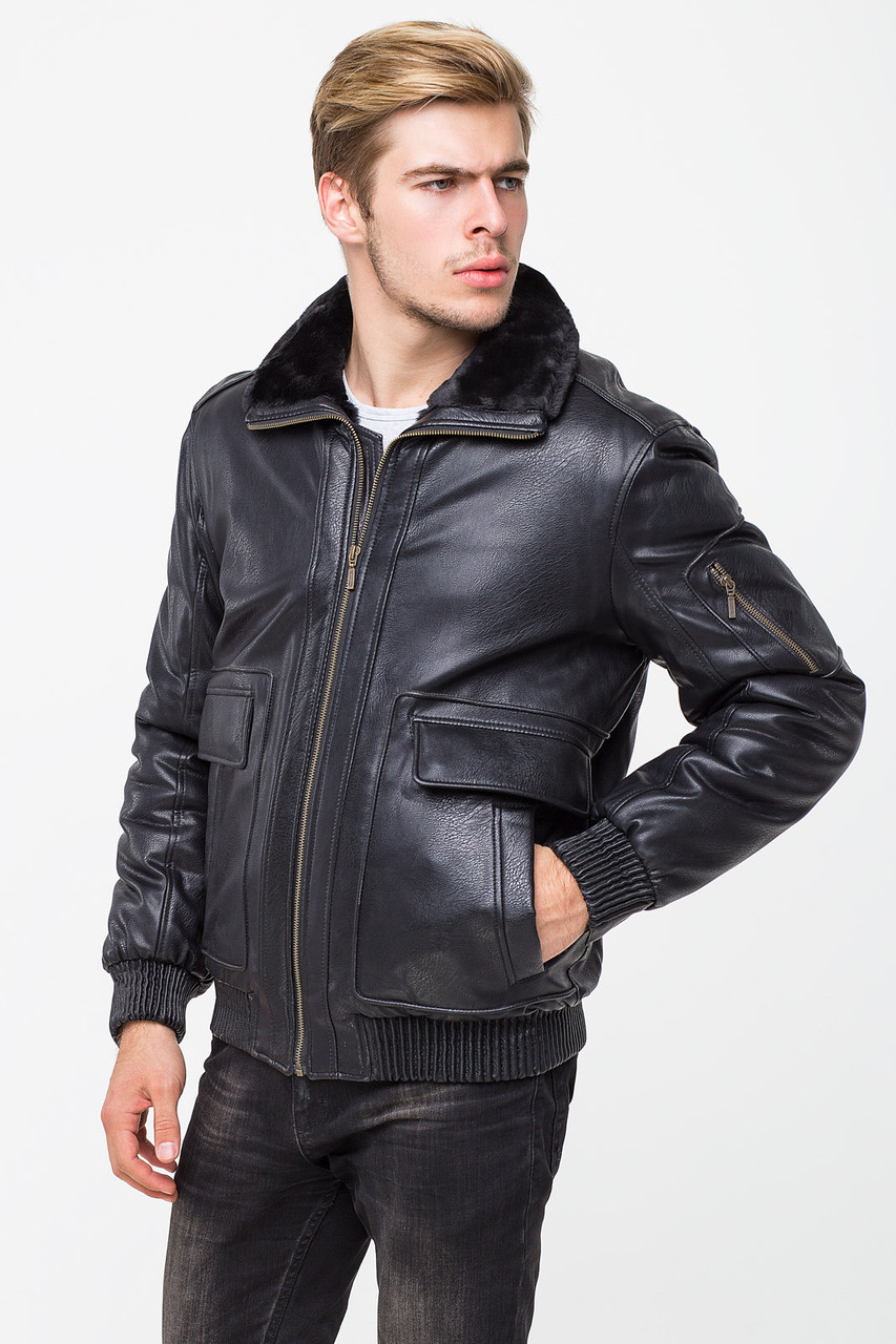 Мужская зимняя куртка из кожвинила T-TK