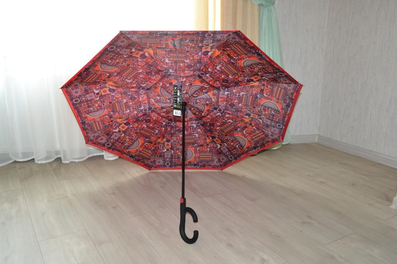 Сухой зонт на оборот up-brella. Полуавтомат. Красный