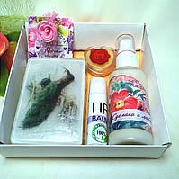 Набор косметики ( мыло, бальзам для губ, твердые духи, молочко для лица)