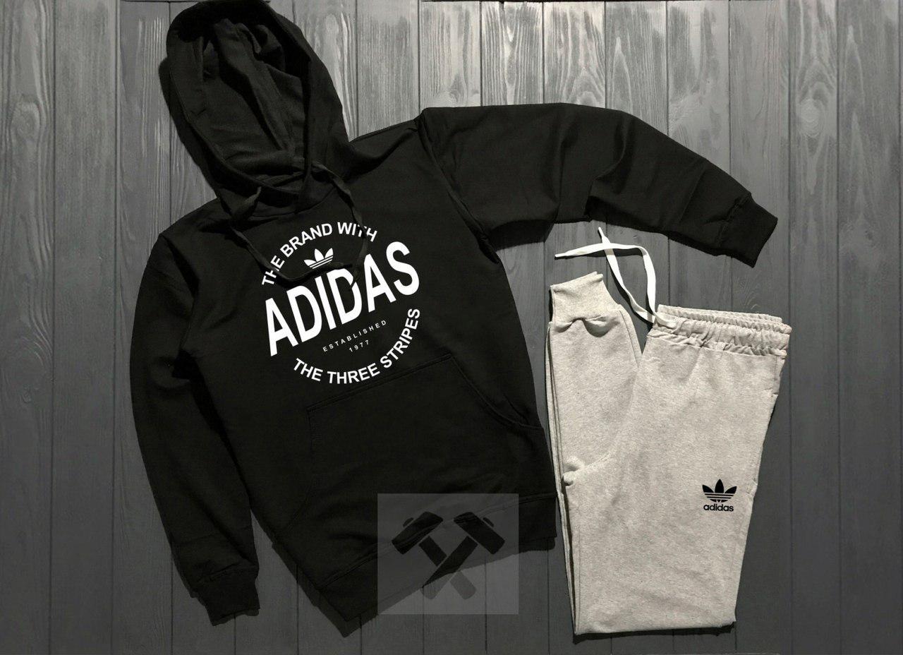 Спортивный костюм Adidas черно-серый топ реплика