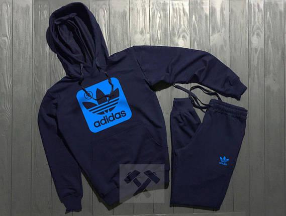 Спортивный костюм Adidas темно-синий топ реплика, фото 2