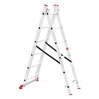 Лестница 2-х секционная алюминиевая ,универсальная раскладная 2*6 ступ.  Intertool  LT-0206