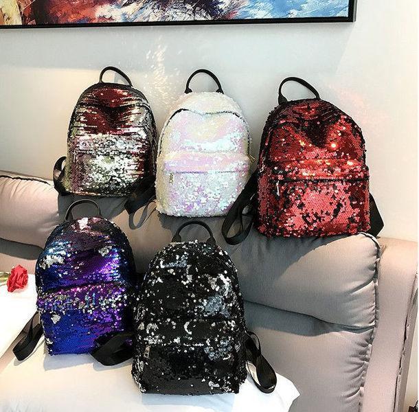 Модный городской рюкзак с пайетками перевертыш Хамелеон