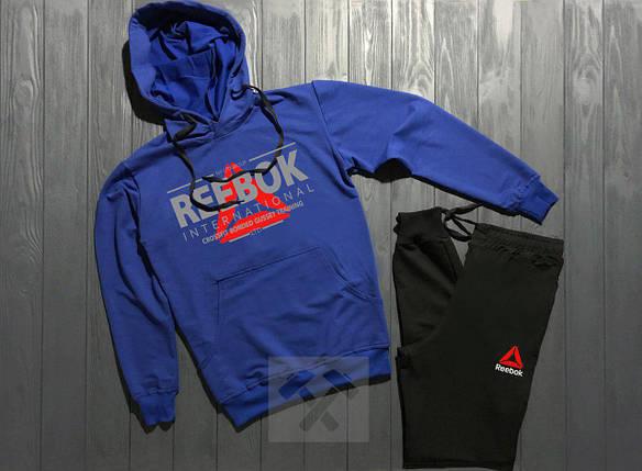 Спортивный костюм Reebok сине-черный топ реплика, фото 2
