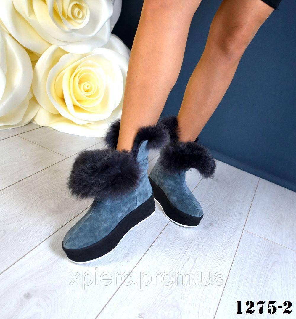 Новинка! Женские зимние ботиночки на платформе с опушкой натуральный кролик  серый цвет bbdd7fdcb0414