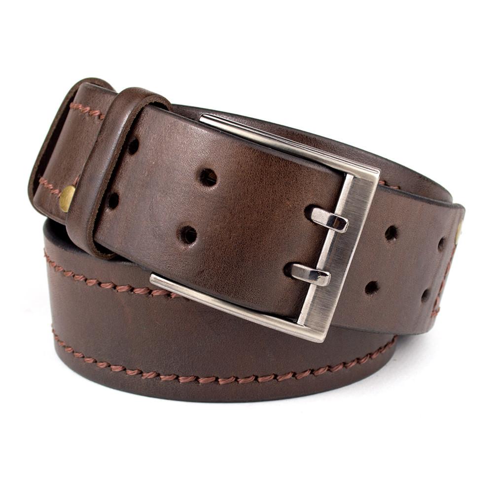 Ремень мужской кожаный KB-45 brown (4,5 см)
