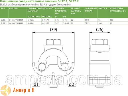 Зажим соединительный плашечный SL37.1 (6-95/6-95) ENSTO, фото 2