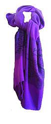 Палантин женский  фиолетовый с черным принтом и бахромой, Avon, Эйвон, AS4