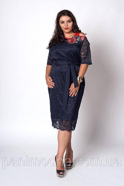 Модное гипюровое женское платье с красивой вышивкой