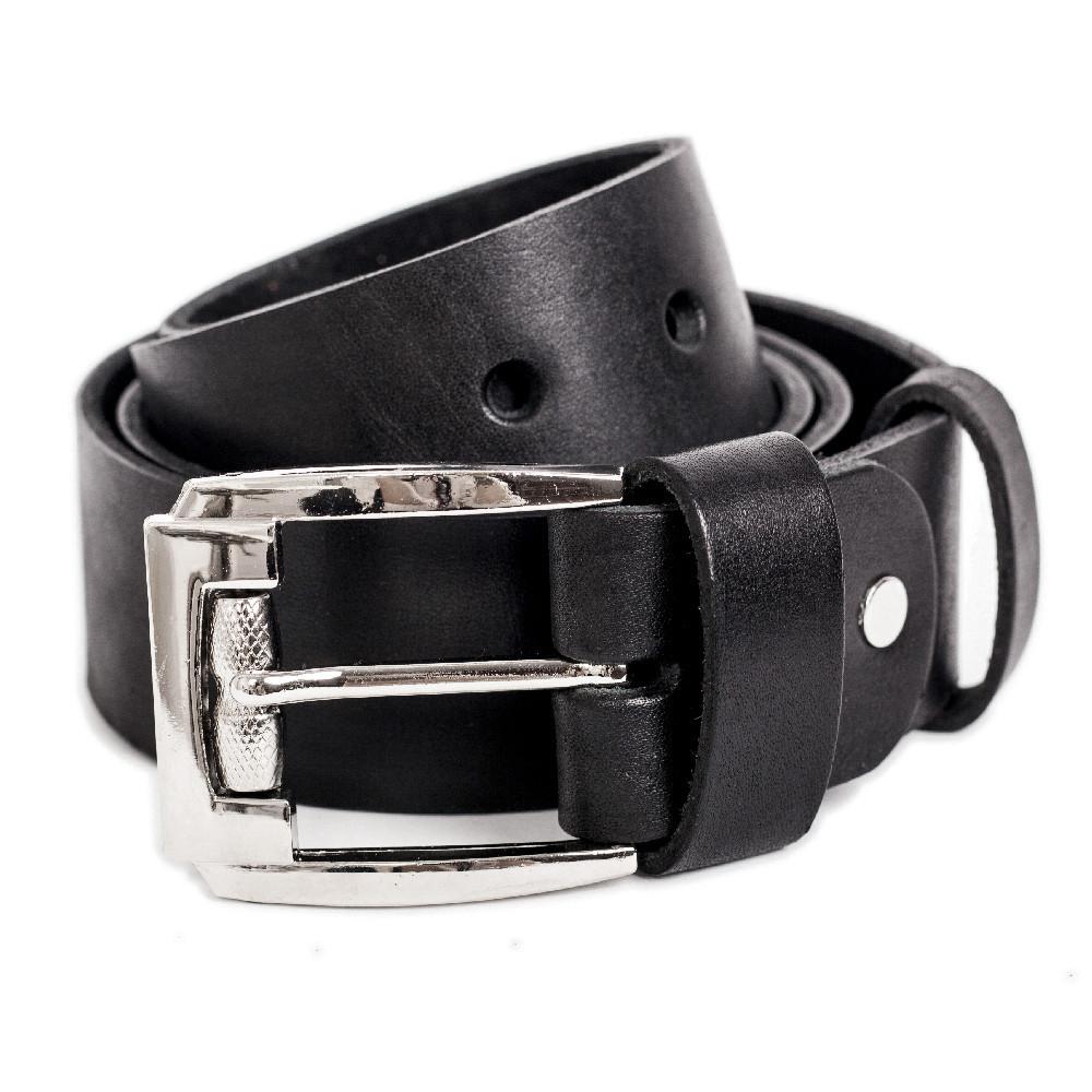 Мужской кожаный ремень R-01w (черный) (4 см) XXL