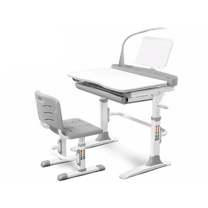 Увеличенная ортопедическая парта + стульчик Evo-kids Evo-19 (с лампой) серый