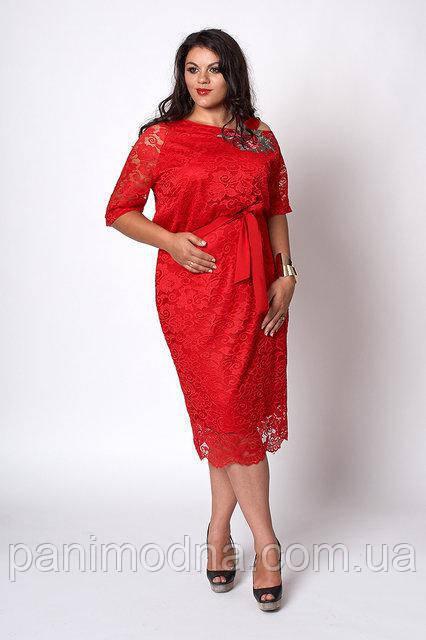 Модное красное гипюровое женское платье с красивой вышивкой