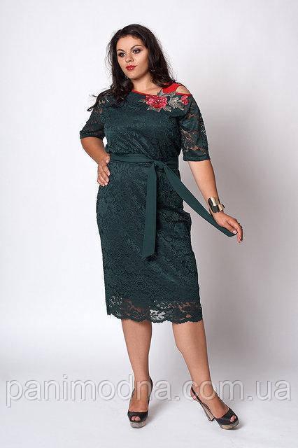 Бордовое  гипюровое женское платье с красивой вышивкой