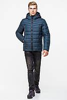 Теплая зимняя мужская куртка с капюшоном T-150 цвета морской волны (#523)