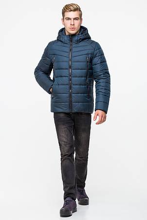 Теплая зимняя мужская куртка с капюшоном T-150 цвета морской волны (#523), фото 2