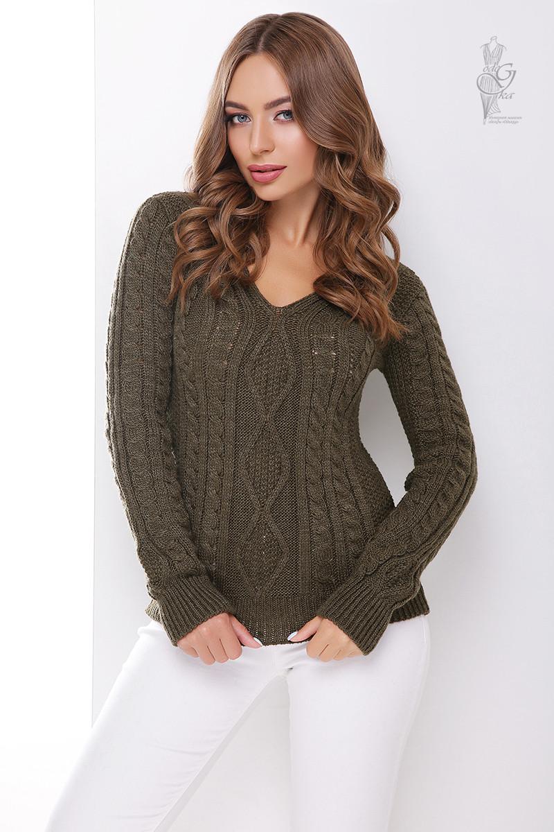 Вязаный женский свитер Белла-12 из шерсти и акрила