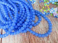 Бусины хрустальные 6 мм, шар, 60-65 шт, цвет голубой (непрозрачный)