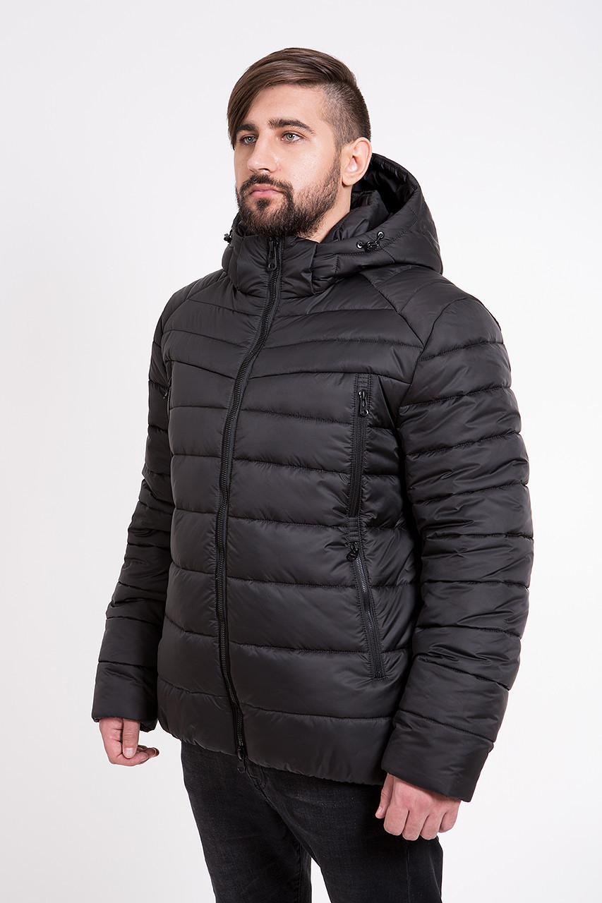 Теплая зимняя мужская куртка с капюшоном T-150 черного цвета (#black)