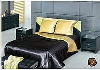 Комплект постельного белья Атласное Чёрно-золотое КПБ