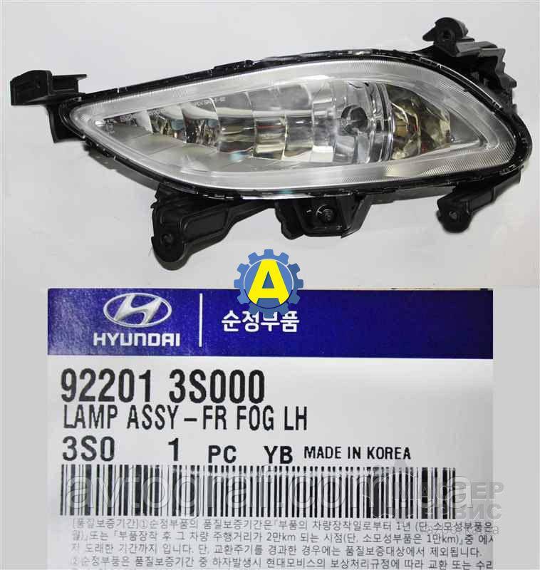 Фара противотуманная левая на Хьюндай Соната (Hyundai Sonata)2010-2014