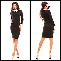 Черное Демисезонное Платье с Длинными Рукавами и Белым Кружевом на ... 9b56c5f045f