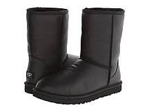 Сапожки Угги UGG Classic Short Black leather (Оригинал) Черные